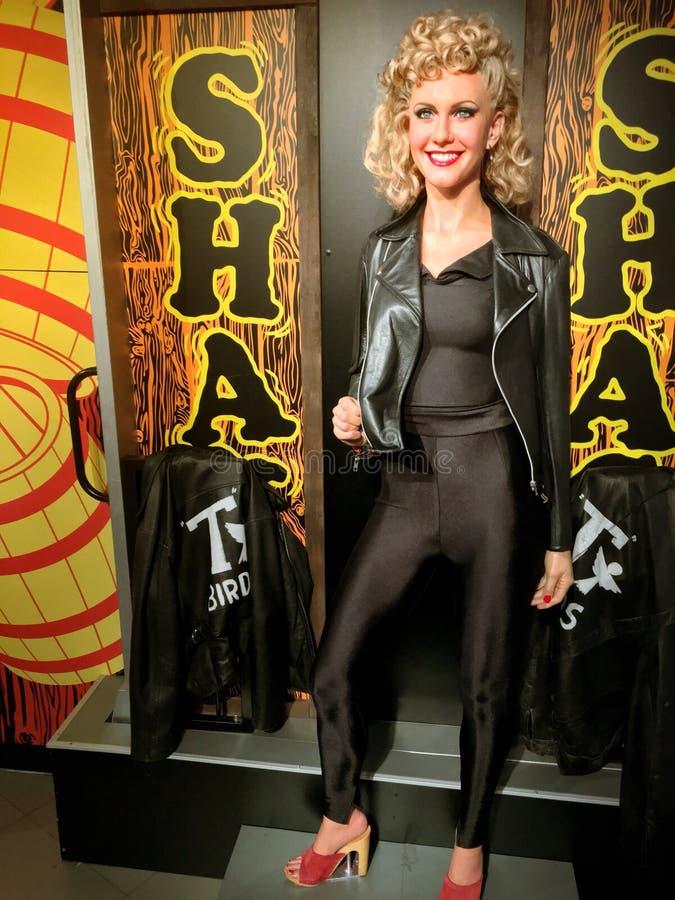Waxwork Olivia Newton-John van 'Vet' royalty-vrije stock afbeelding