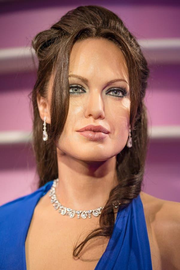 Waxwork van Angelina Jolie op vertoning royalty-vrije stock fotografie