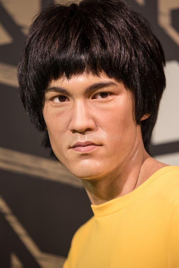 Waxwork van Bruce Lee op vertoning bij Mevrouw Tussauds stock afbeelding