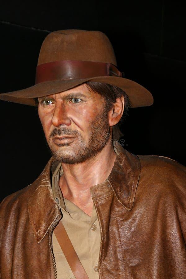 Waxwork van Harrison Ford als Indiana Jones royalty-vrije stock afbeeldingen