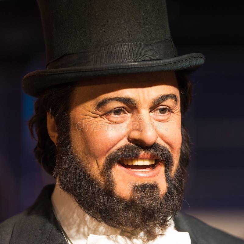 Waxwork van Luciano Pavarotti op vertoning bij Mevrouw Tussauds op 29 Januari, 2016 in Bangkok, Thailand royalty-vrije stock foto's