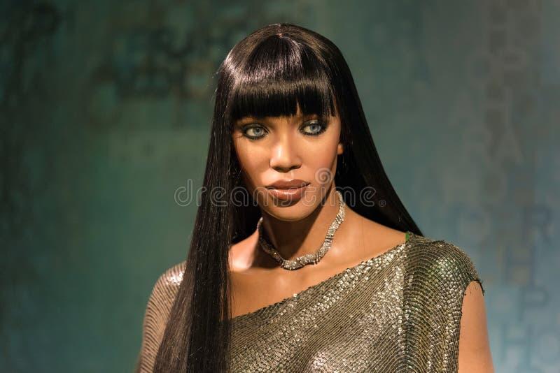 Waxwork van Naomi Elaine Campbell op vertoning bij Mevrouw Tussauds royalty-vrije stock foto's