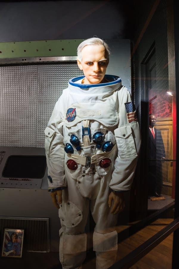 Waxwork van Neil Alden Armstrong-vertoning in Josephine Tussaud royalty-vrije stock afbeelding
