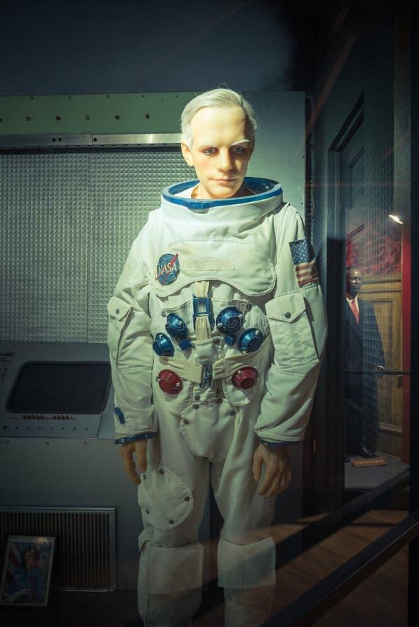 Waxwork van Neil Alden Armstrong-vertoning in Josephine Tussaud stock afbeelding