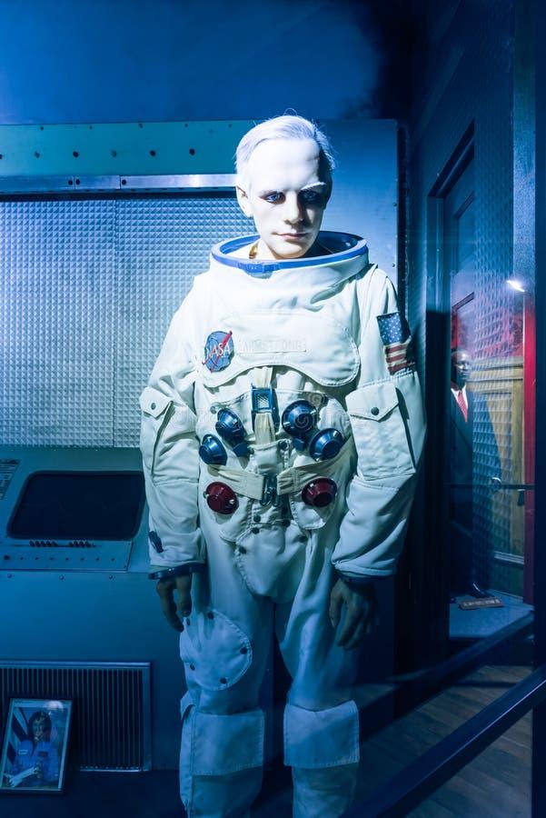 Waxwork van Neil Alden Armstrong-vertoning in Josephine Tussaud royalty-vrije stock afbeeldingen