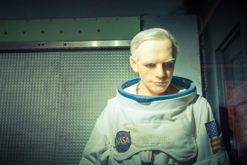 Waxwork van Neil Alden Armstrong-vertoning in Josephine Tussaud royalty-vrije stock foto's