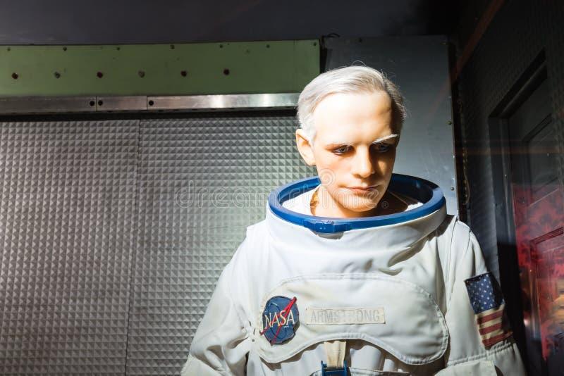Waxwork van Neil Alden Armstrong-vertoning in Josephine Tussaud stock foto