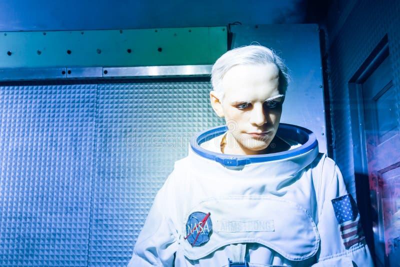 Waxwork van Neil Alden Armstrong-vertoning in Josephine Tussaud stock fotografie