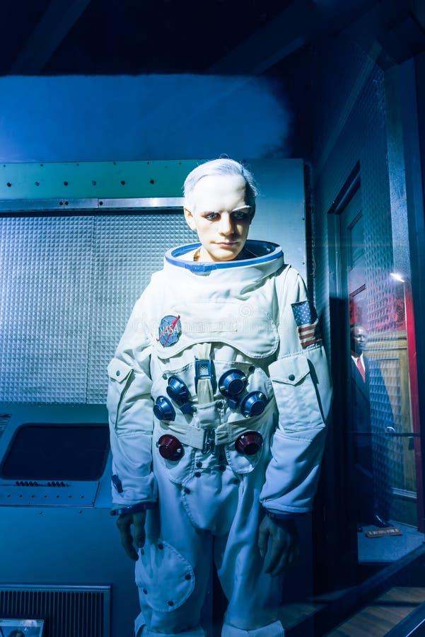 Waxwork van Neil Alden Armstrong-vertoning in Josephine Tussaud royalty-vrije stock fotografie