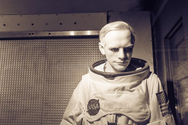 Waxwork van Neil Alden Armstrong-vertoning in Josephine Tussaud stock foto's