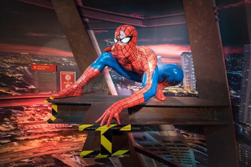 Waxwork van Spiderman op vertoning stock afbeeldingen