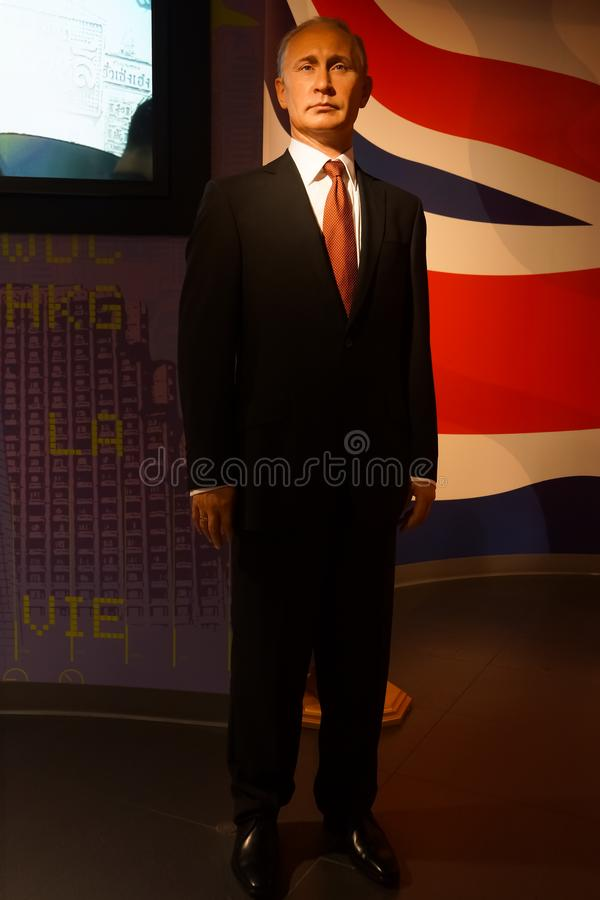 A waxwork of Vladimir Putin on display at Madame Tussauds wax museum at Siam Discovery royalty free stock photos
