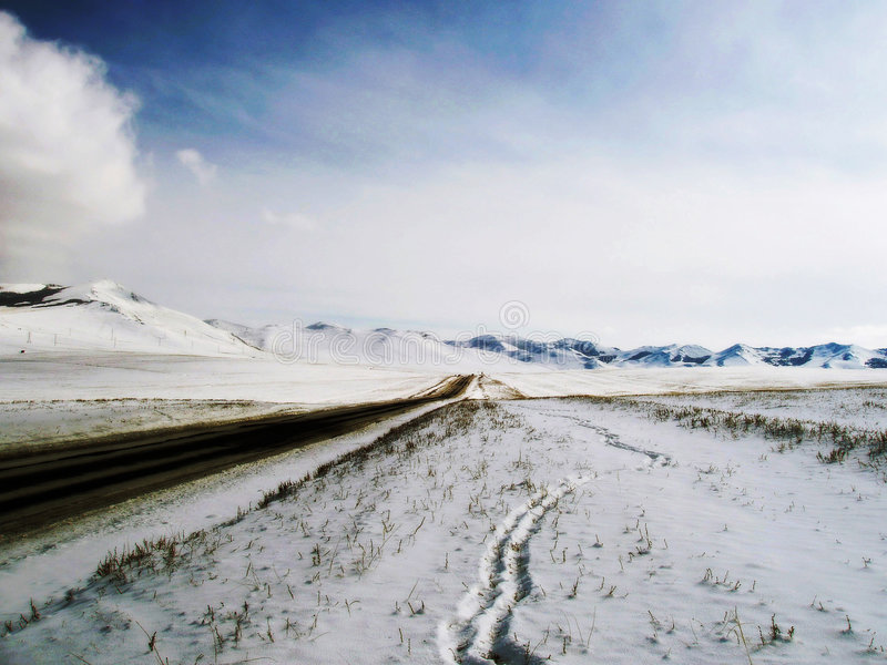 Way. Mongolia road way winter snow royalty free stock images