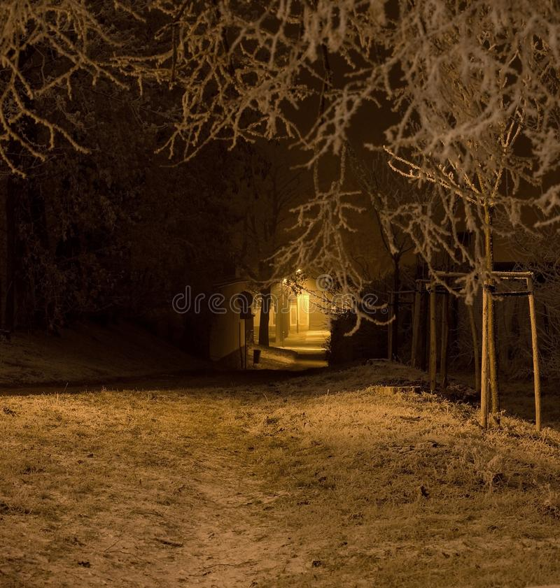 Way from church to the graveyard royalty free stock photos