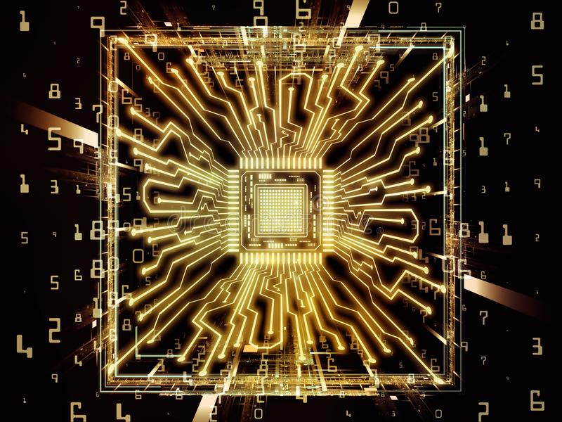 Way of Computer CPU. Computing Machine series. Design composed of CPU with fractal environment in perspective as a metaphor on the subject of computer science vector illustration