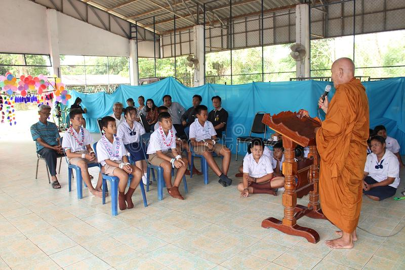 The way of eradicate sorrow. UDONTHANI, THAILAND – SEPTEMBER 4, 2018: Primary students be listening about the way of eradicate sorrow from Buddhist monk stock images