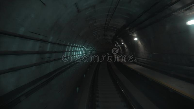 Way of fast underground train in a tunnel of the city. Way of fast underground train in a tunnel of the modern city royalty free stock photos
