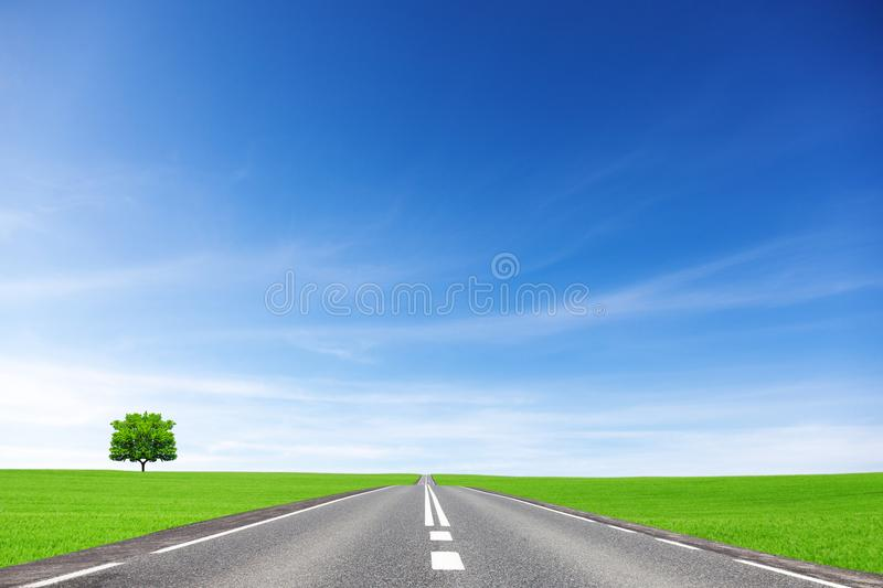 Way, field, tree and sky . Transportation concept. Way, field, tree and sky . Transportation concept stock image