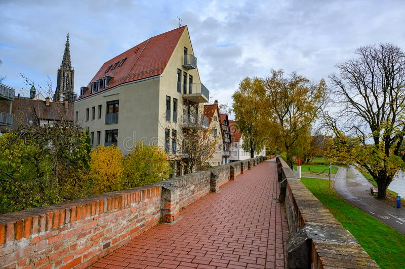 Way over ancient City Wall of Ulm, Baden-Wuerttemberg, Germany stock photos
