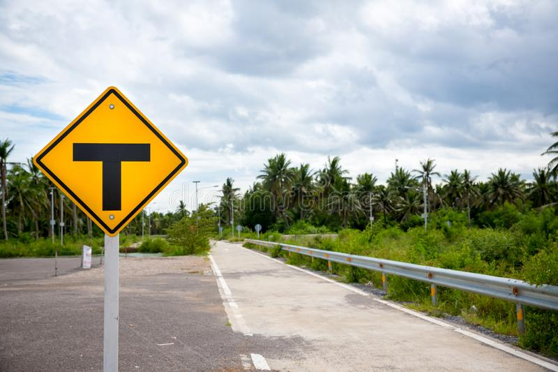 3-Way Intersection sign.Three separate signs .Traffic Signs.  stock images