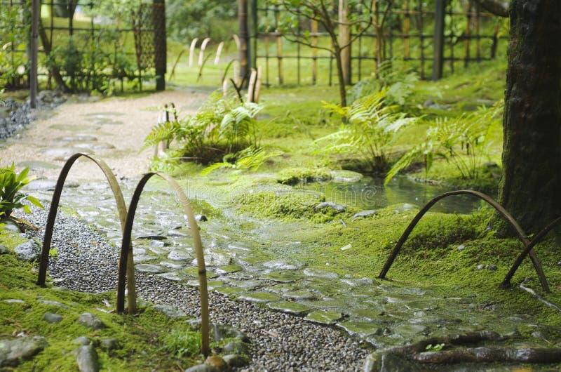 Way in Japanese garden Yoshiki-en in Nara royalty free stock photos