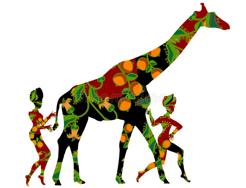 Way of life. People go to a giraffe in ethnic style on a white background stock illustration