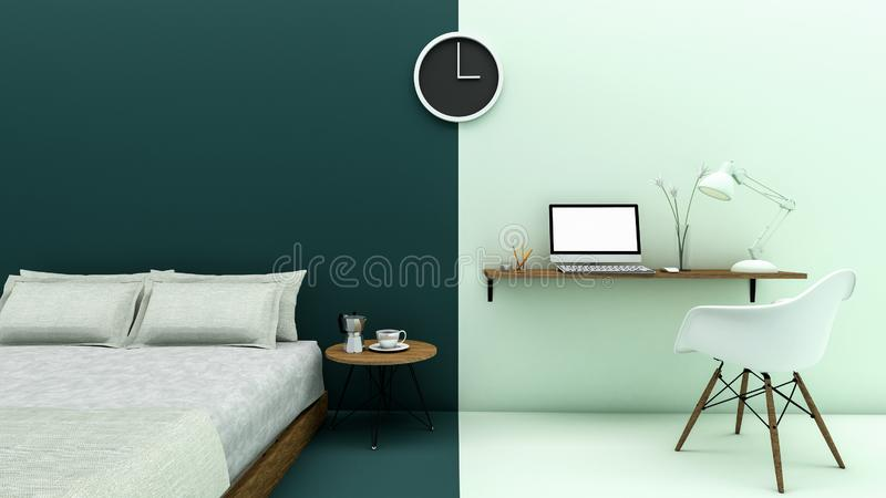 The way of life of an independent profession in bedtime and working hours royalty free illustration