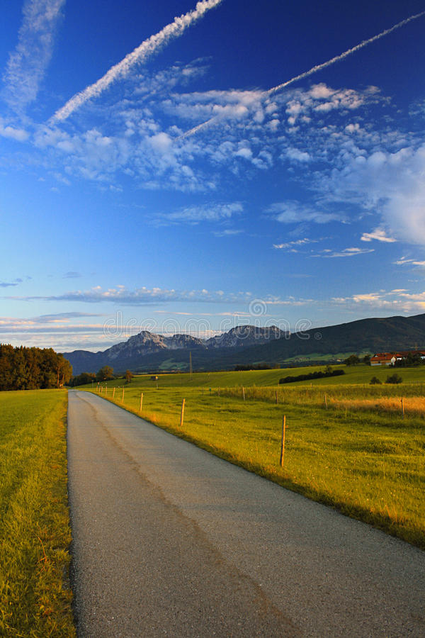 Way With Mountains And Evening Sky Stock Photos