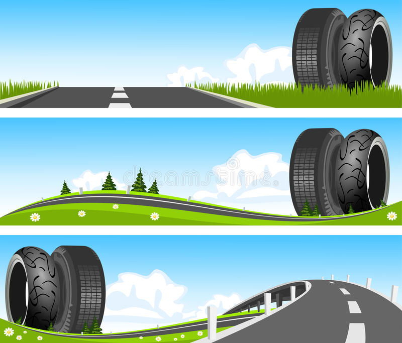 Download Way Through Nature With Tires Stock Vector - Illustration: 27208940
