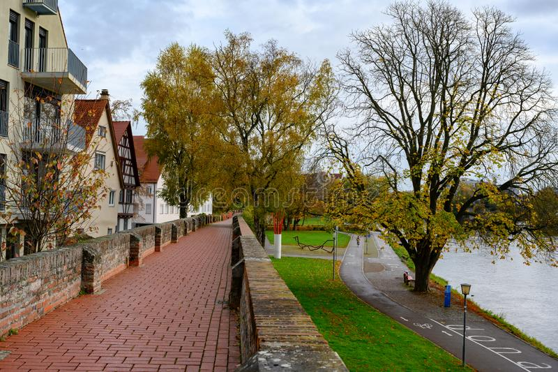 Way over ancient City Wall of Ulm and Danube, Baden-Wuerttemberg, Germany stock photos