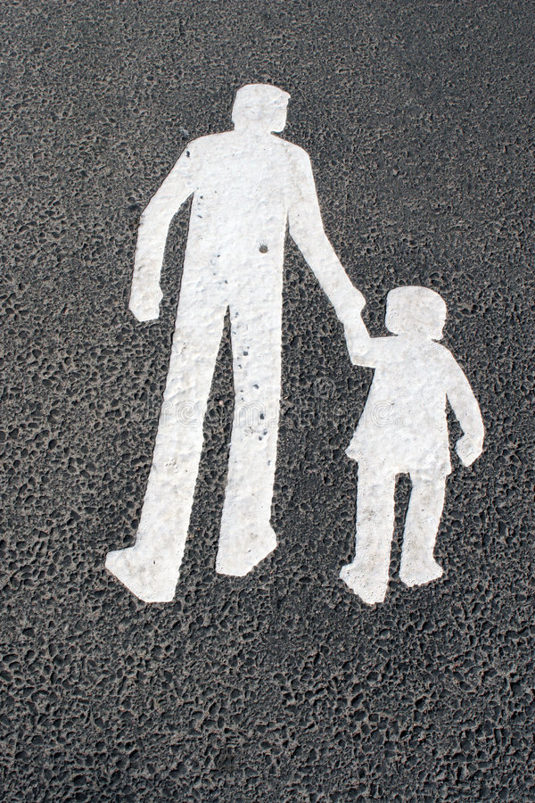 Download Way For Pedestrians  - Father With Child - Sign On Asphalt Stock Photography - Image: 513552