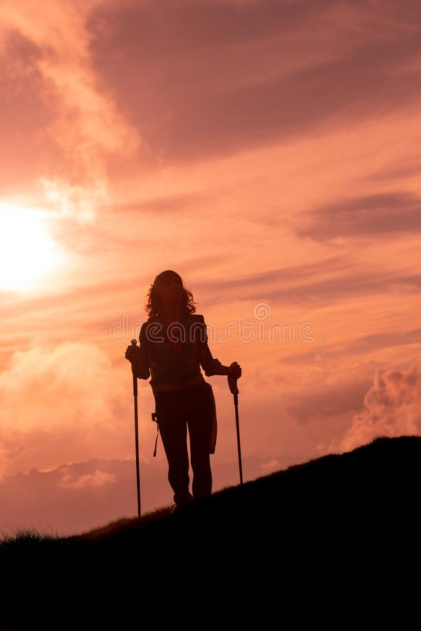 On the way of a religious pilgrimage a girl alone.  royalty free stock image