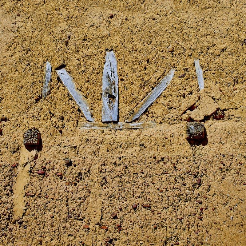 Way of saint James adobe mud walls at Palencia stock photos