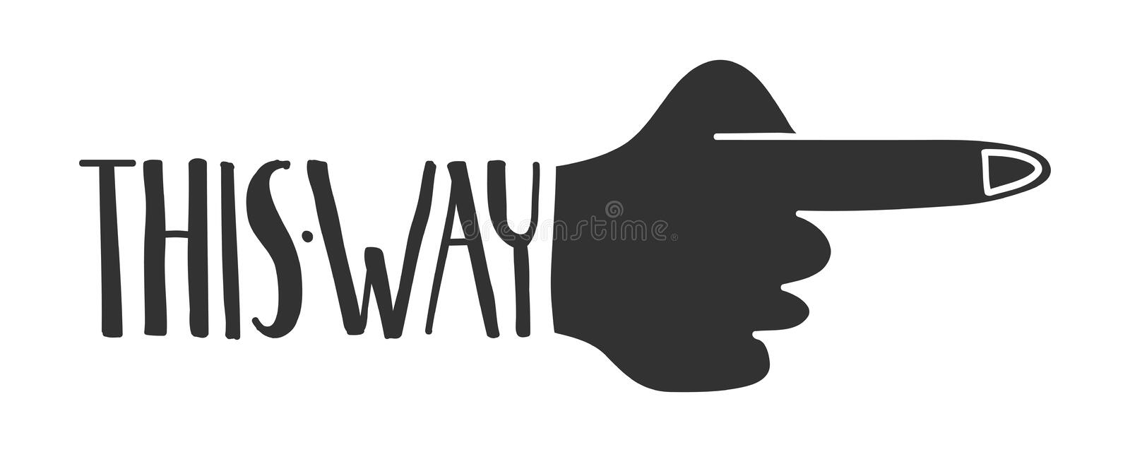 This way sign. Hand drawn this way sign with pointing finger stock illustration