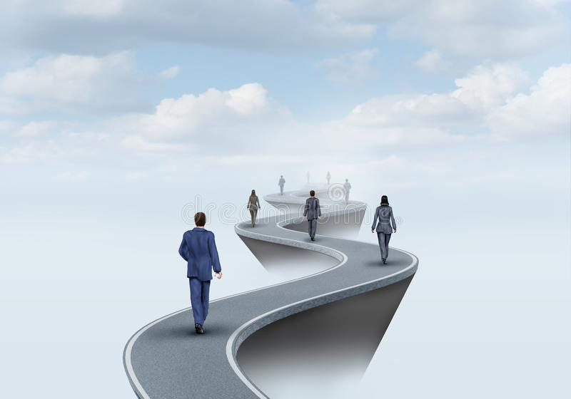 Way Of Success. And road to worker opportunity as a group of people walking on a pathway to opportunities with 3D illustration elements vector illustration