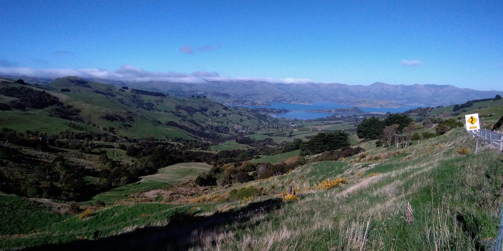 On the way to Akaroa Harbour, New Zealand stock photography