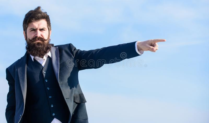 Way to be free. Businessman against the sky. Future success. Male formal fashion. Bearded man. Mature hipster with beard. Brutal caucasian hipster with stock images