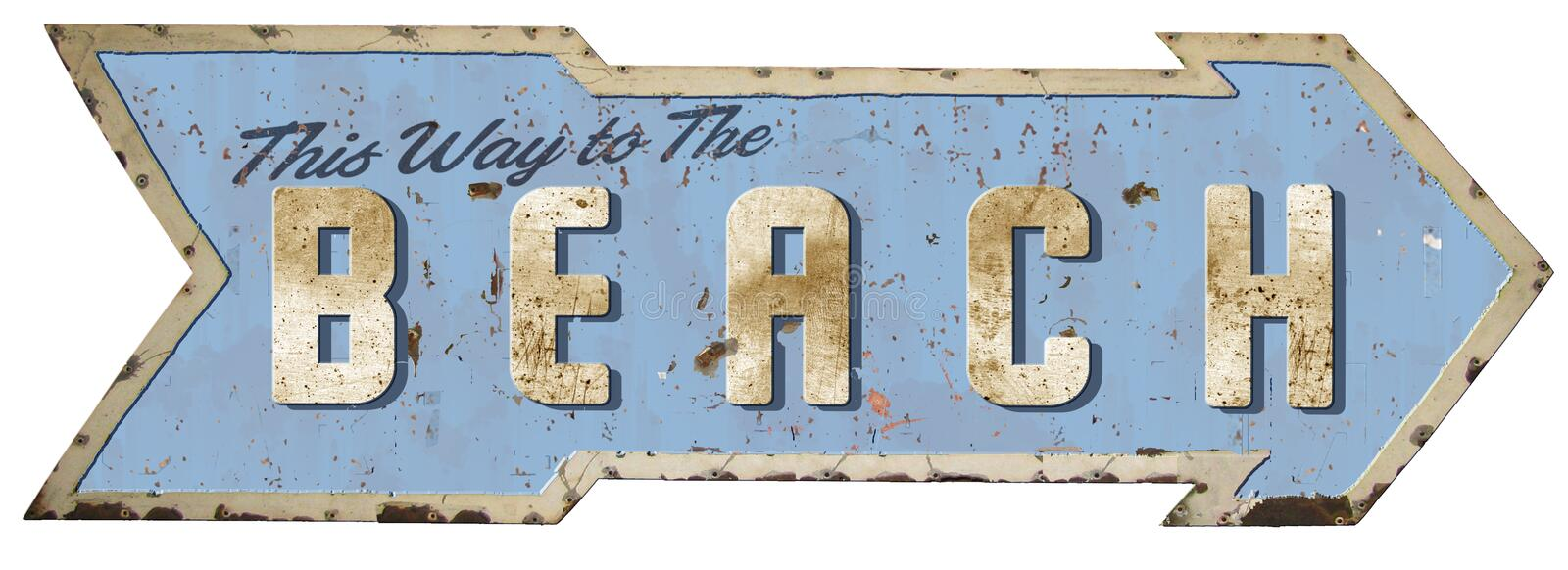 This way to the Beach Tin Sign. Old vintage retro rusted arrow royalty free stock image