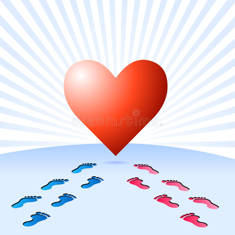 The way to find true love. Illustration with big heart, reached by male and female footprints, with beams background, related to the search of true love and stock illustration