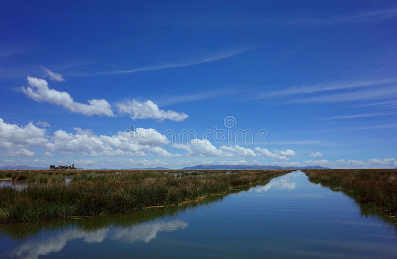 On the way to the Floating Islands on Lake Titicaca stock photography