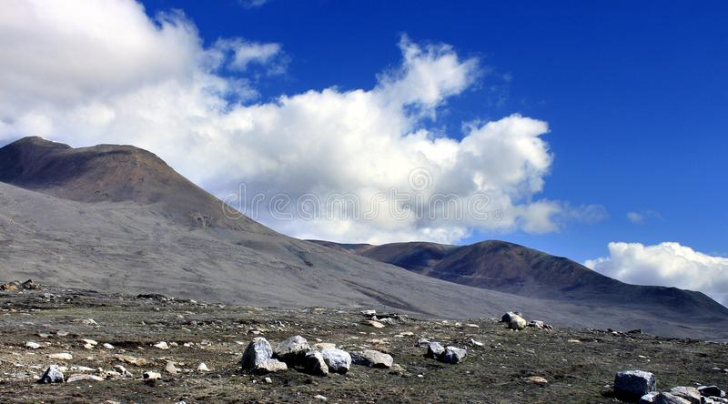Scenic Himalayan mountain in North Sikkim, India. On the way to Gurudongmar lake. Himalayan mountain road in North Sikkim India from Lachen to Gurudongmar lake royalty free stock images