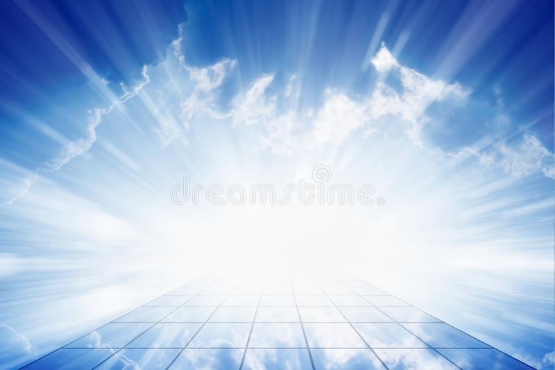 Way to heaven. Peaceful background - beautiful blue sky with bright sun, way to heaven