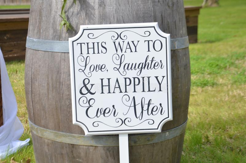 This way to love laughter & happily ever after royalty free stock photo