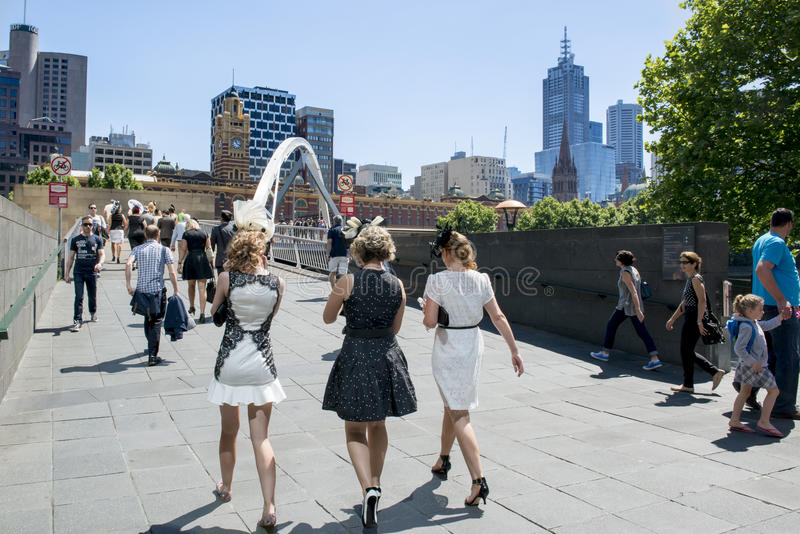 On the way to Melbourne Cup. Three young ladies going to the famous Horse Race Melboune Cup royalty free stock photos