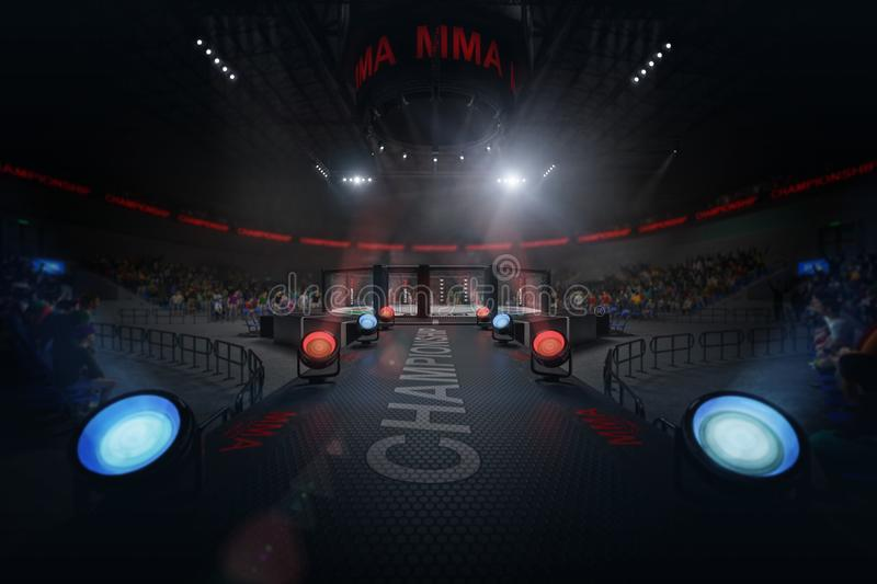 Way to mma arena on crowded stadium under lights royalty free stock photos