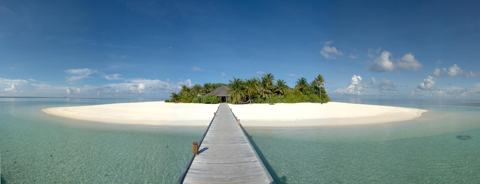 Way to paradise. Island resort in the Maldives stock photography