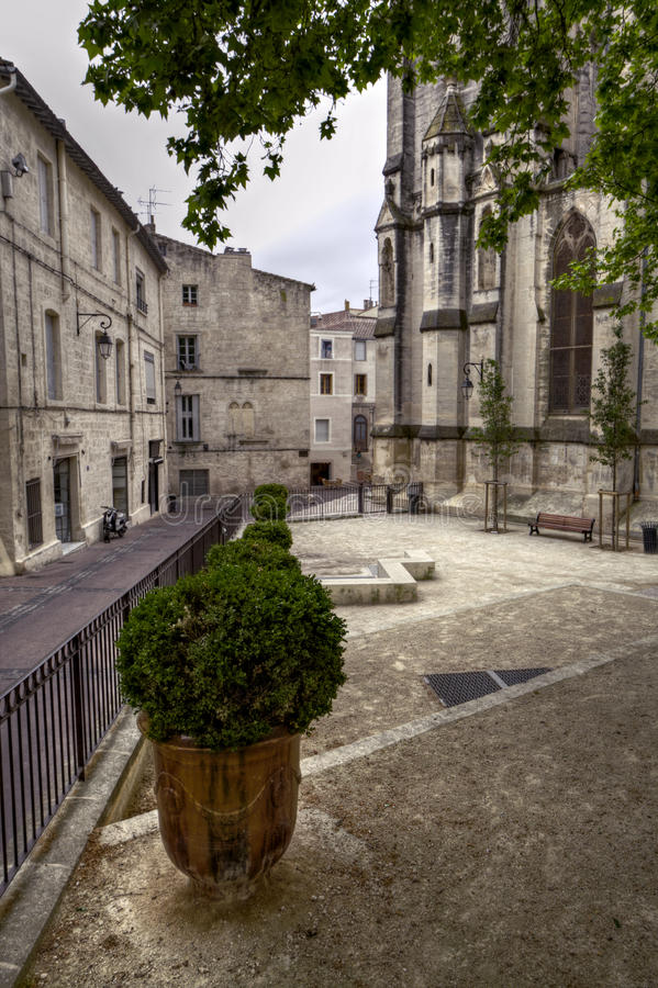 Way to the place Saint Roch, Montpellier. France stock photo