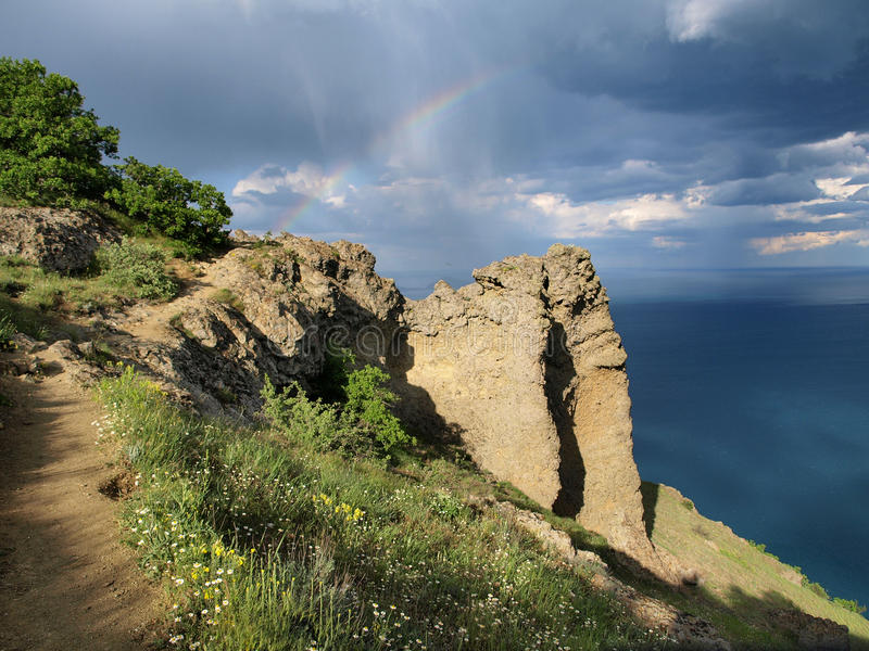 Download The way to the rainbow stock photo. Image of rock, bluff - 20024798