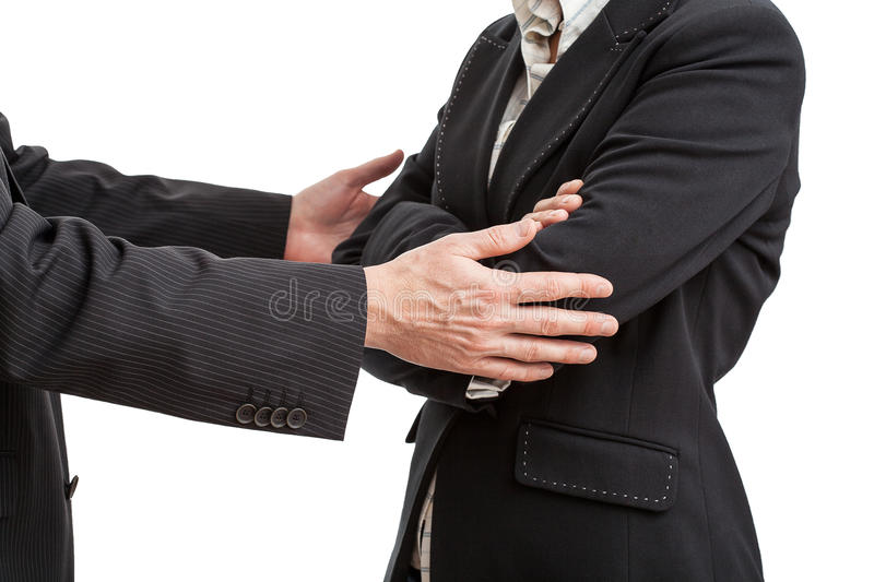 Way to say sorry. Businessman ison way to say sorry to his work partner royalty free stock image