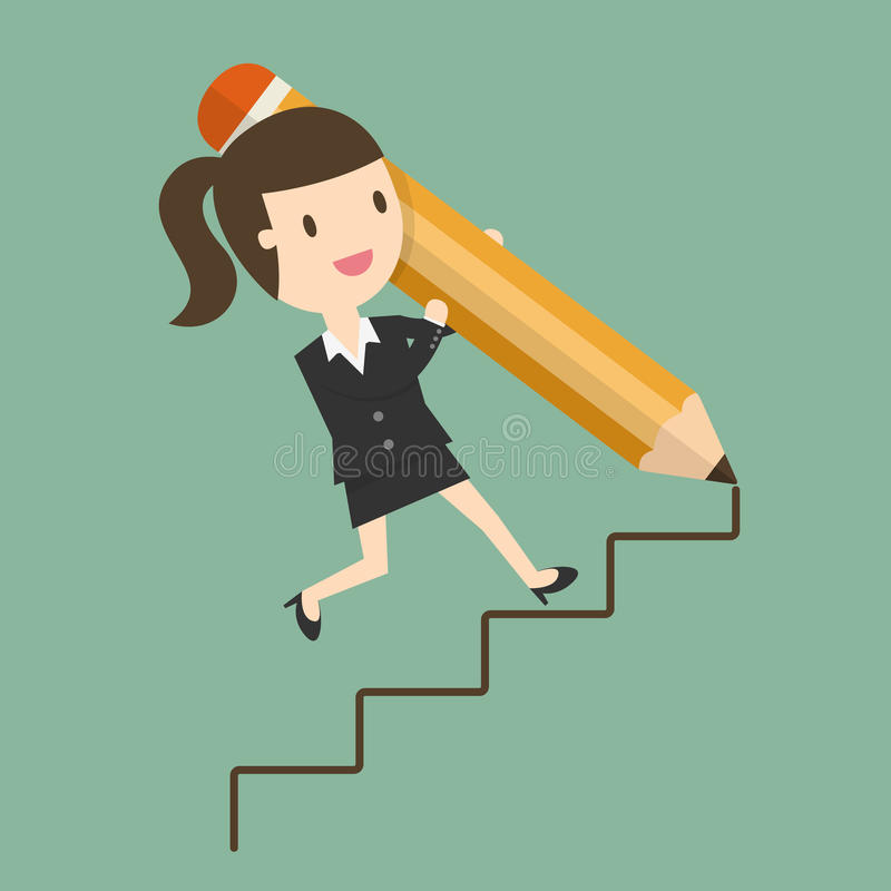 Way To Success. Concept of Business Opportunity. Flat Design Cartoon Illustration stock illustration